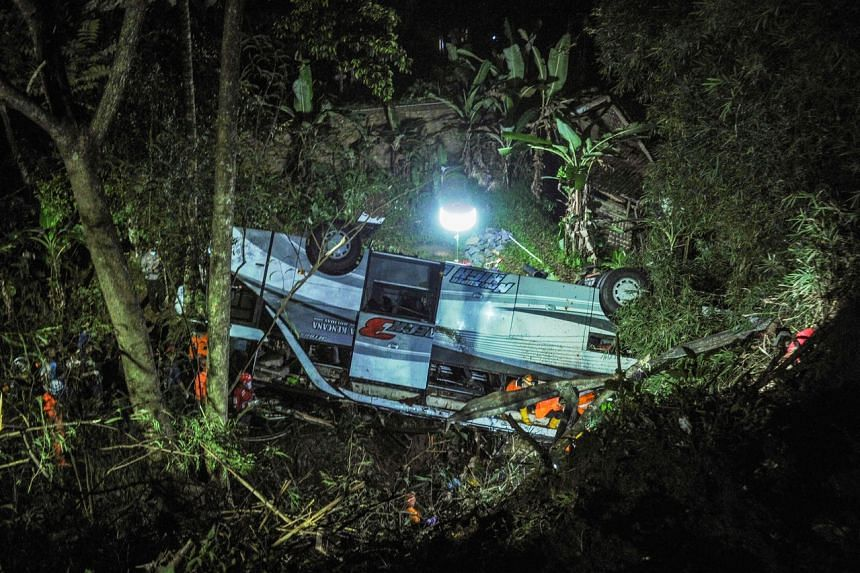The bus carrying 66 passengers was travelling on a winding, poorly lit road when it plunged down the 20m ravine.