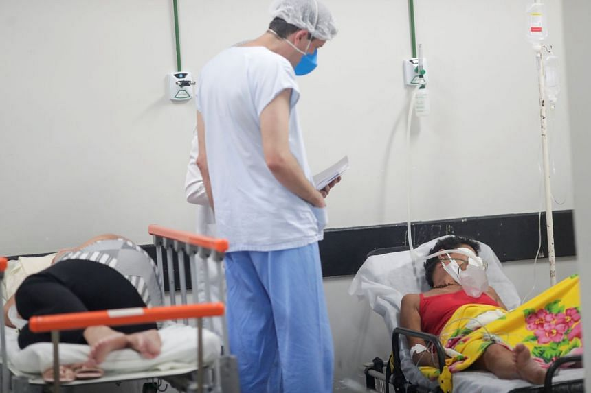 Covid-19 patients are cared for in an improvised area at a public hospital in Brasilia, on March 8, 2021.