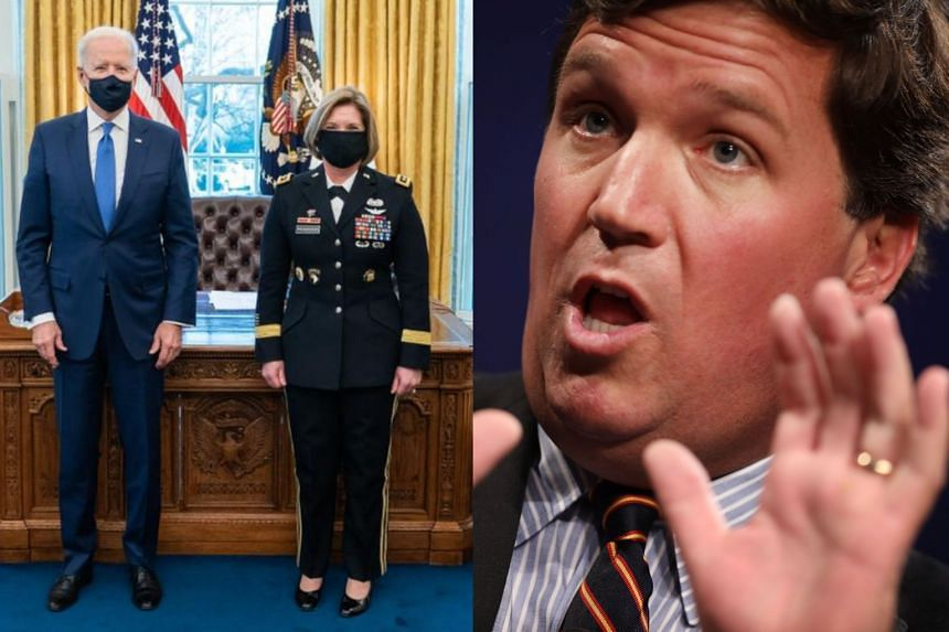 After Biden nominated two women to four-star general positions and tweeted about it (left), Carlson (right) let loose with a diatribe against the increase in women soldiers.
