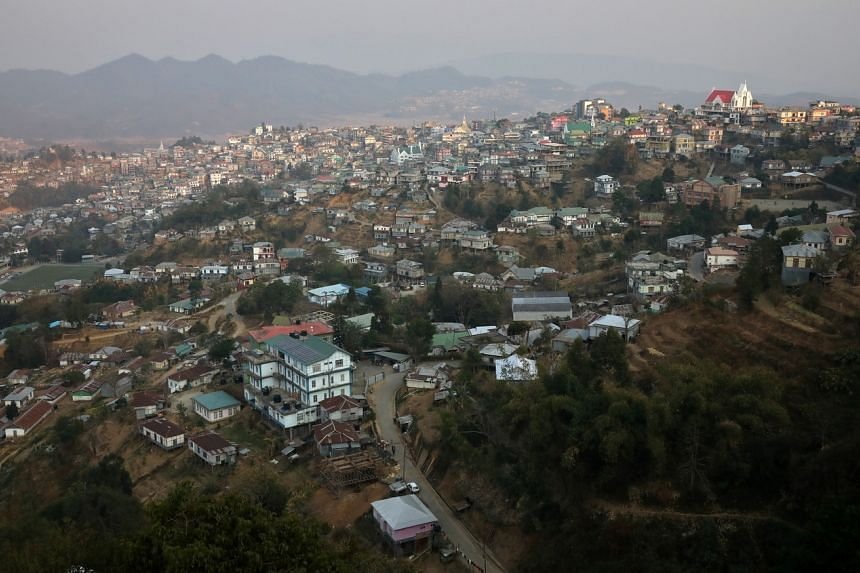 A growing stream of people have crossed over the border from Myanmar into the Indian state of Mizoram (pictured).