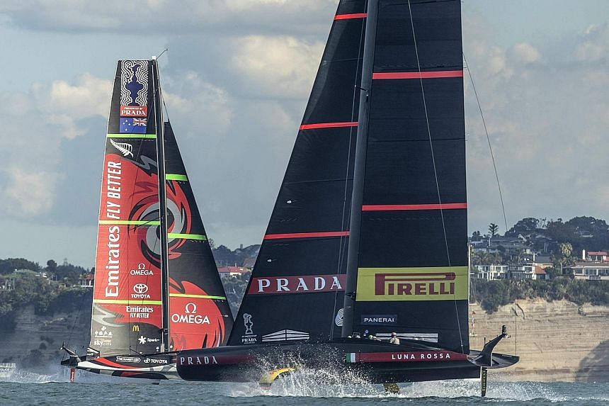 Challengers Luna Rossa Prada Pirelli competing against defenders Emirates Team New Zealand in race four of the 36th America's Cup in Auckland yesterday.