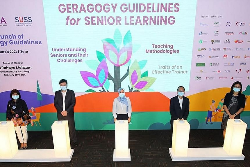 Parliamentary Secretary for Health Rahayu Mahzam (centre) at yesterday's launch of the geragogy guidelines developed by the Council for Third Age (C3A) and Singapore University of Social Sciences (SUSS), along with (from left) C3A chief executive Soh