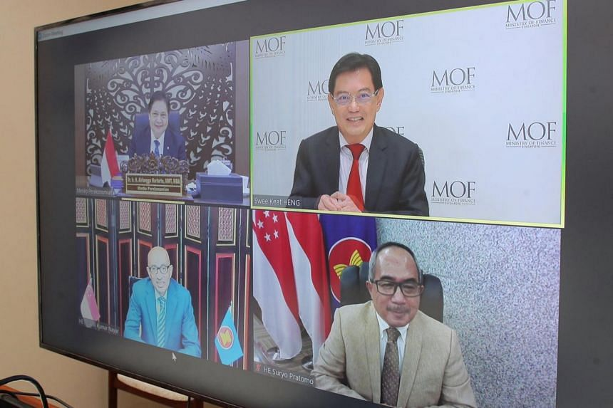 Deputy Prime Minister Heng Swee Keat met Indonesia's Economic Affairs Minister Airlangga Hartarto on March 12, 2021.