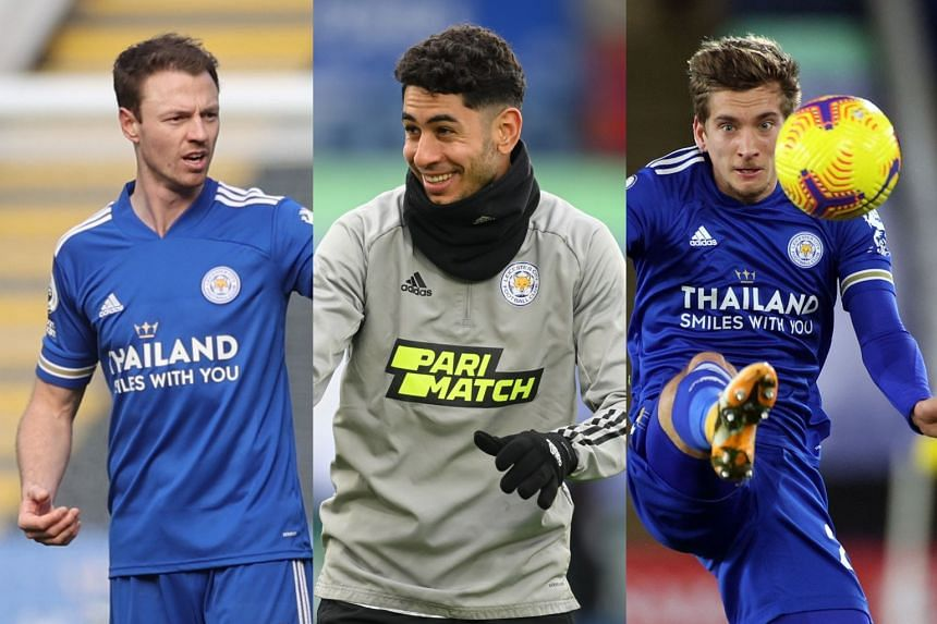 (From left) Jonny Evans, Ayoze Perez and Dennis Praet are all available for Leicester's home clash with Sheffield United.