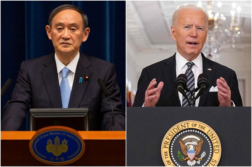 Yoshihide Suga (left) and Joe Biden are expected to agree to strengthen their bilateral alliance.