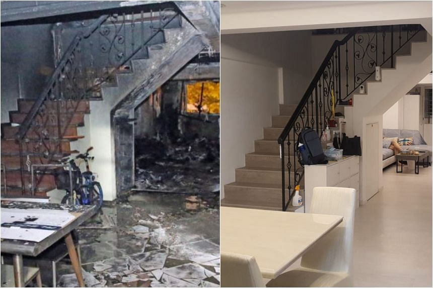 A fire engulfed Mr Lim Guo Liang's two-storey Tampines maisonette flat on July 3, 2019. It cost the family around $90,000 to restore and renovate the flat.