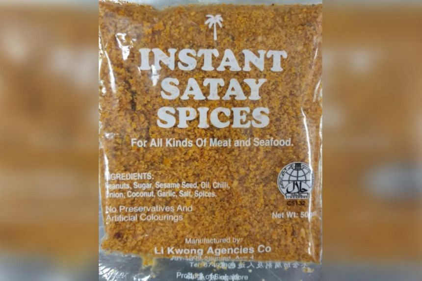 Instant Satay Spices by home-grown manufacturer Li Kwong Agencies Co was found to contain aflatoxins exceeding permitted levels.