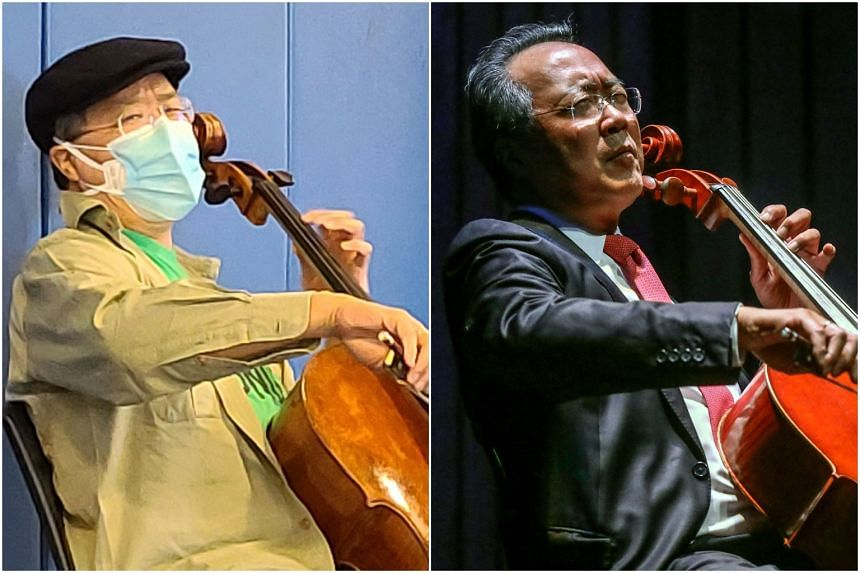Cellist Yo-Yo Ma playing the cello at Berkshire Community College (left) on March 14, 2021, and in Medellin, Colombia on May 9, 2019.