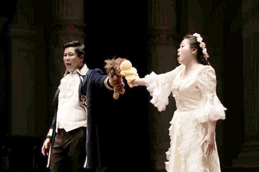 Daniel Fong as Don Giovanni (left) and Joyce Lee Tung as Zerlina in Don Giovanni by Singapore Lyric Opera.