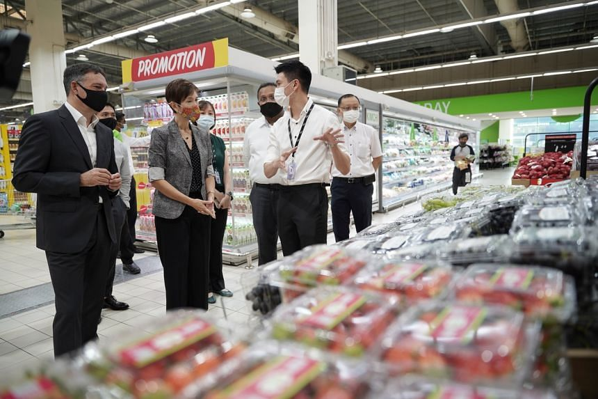 Manpower Minister Josephine Teo during a visit to Giant Hypermarket in Tampines on March 16, 2021.