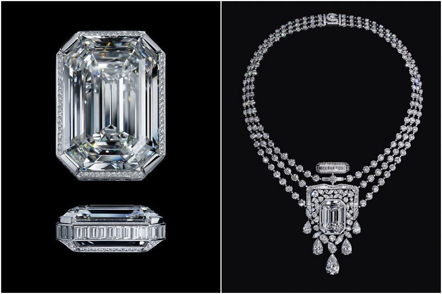 The custom emerald-cut diamond (left) is the centrepiece of the 55.55 necklace, which will be kept in Chanel's Patrimoine at Place Vendôme.