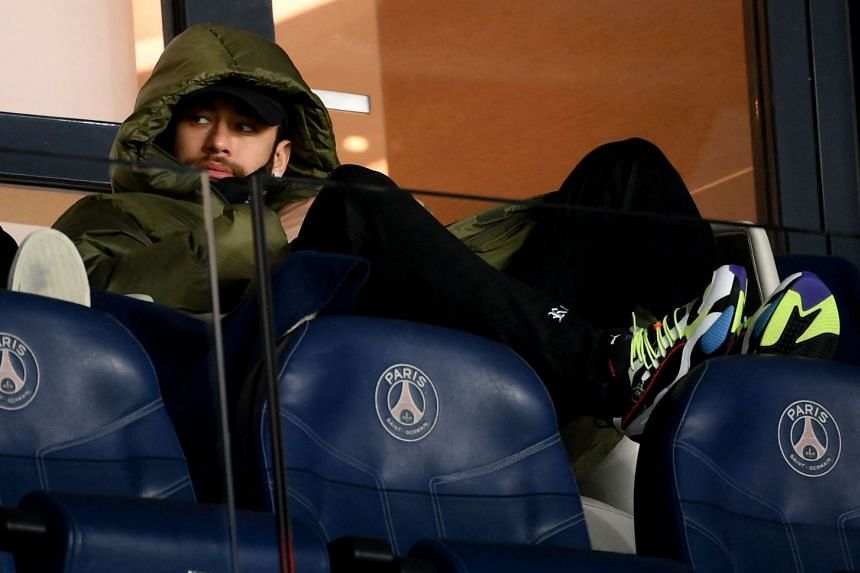 Neymar watches PSG play Nantes at the Parc des Princes stadium in Paris on March 14, 2021.