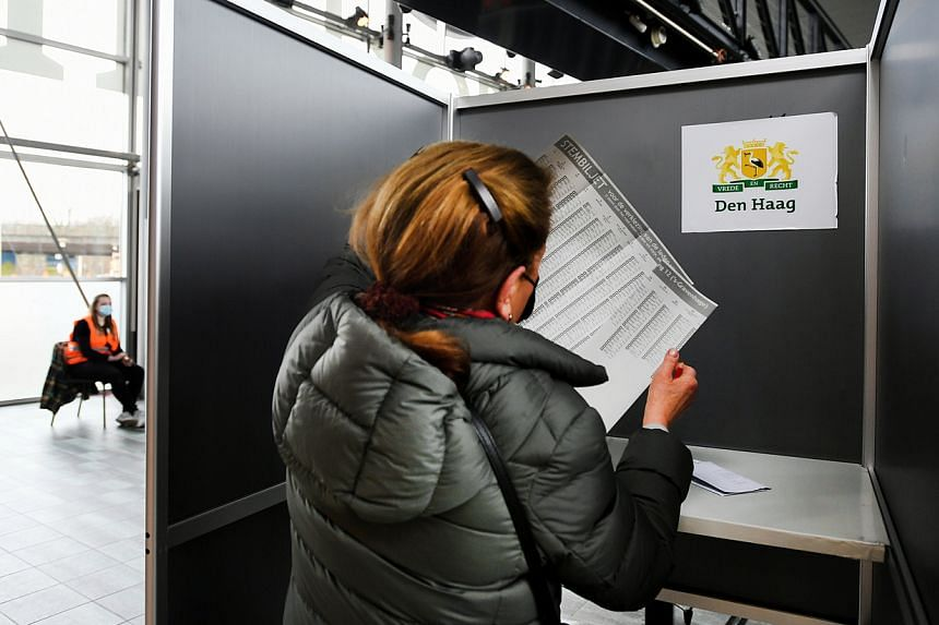 A woman attends voting during the Dutch general election, in The Hague, Netherlands on March 16, 2021.