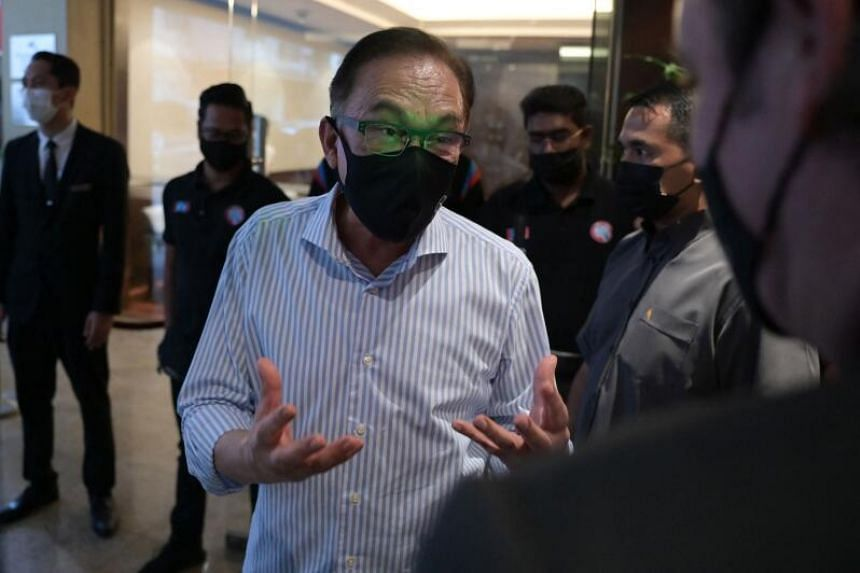 Malaysian opposition leader Anwar Ibrahim after a press conference at a hotel in Kuala Lumpur on March 16, 2021.
