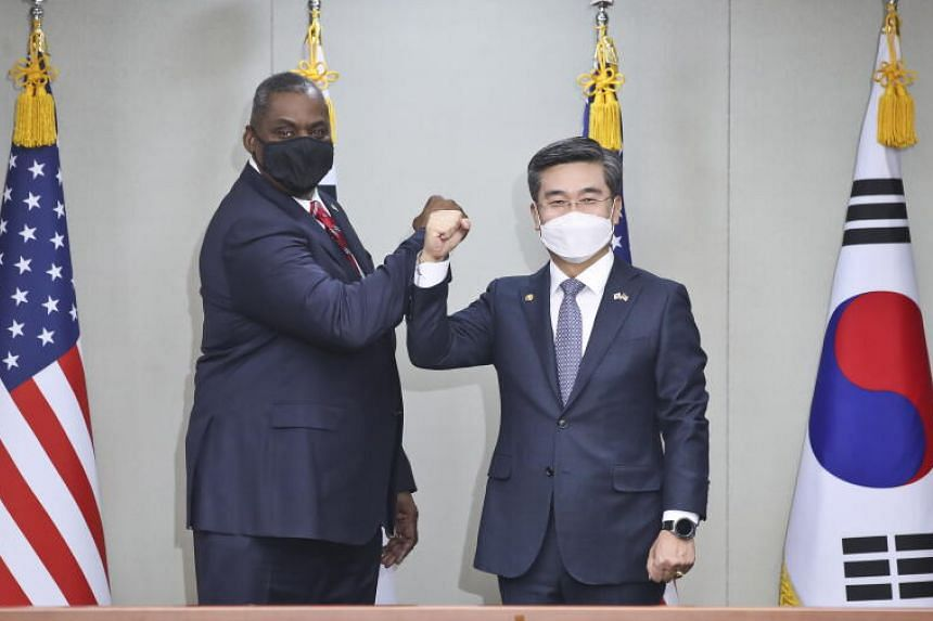 US Secretary of Defence Lloyd Austin with South Korean Defence Minister Suh Wook in Seoul on March 17.