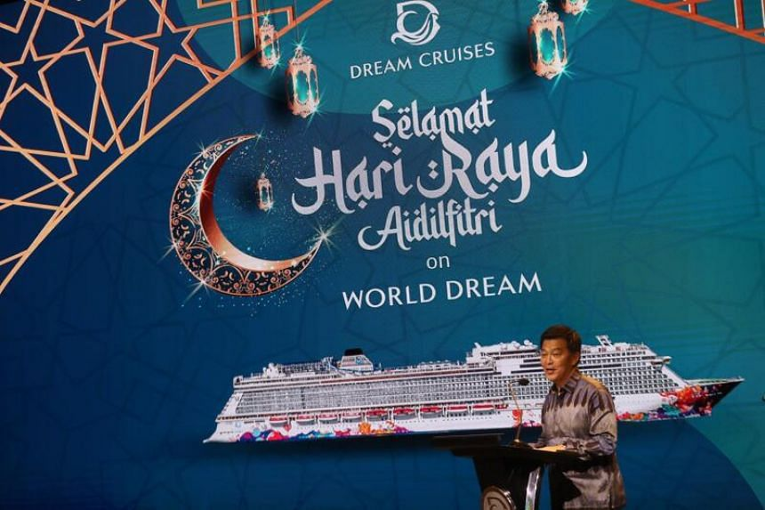 Dream Cruises president Michael Goh speaking at a signing ceremony on March 17, 2021.