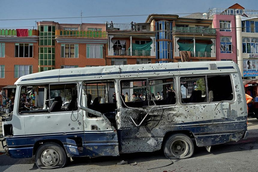 The blast hit a bus which was rented by the Afghan Ministry of Information and Technology to transport employees.