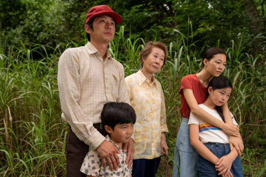 Minari starring (back row, from left) Steven Yeun, Youn Yuh-jung, Han Ye-ri and young actors Alan Kim (left) and Noel Kate Cho, picked up six nominations.