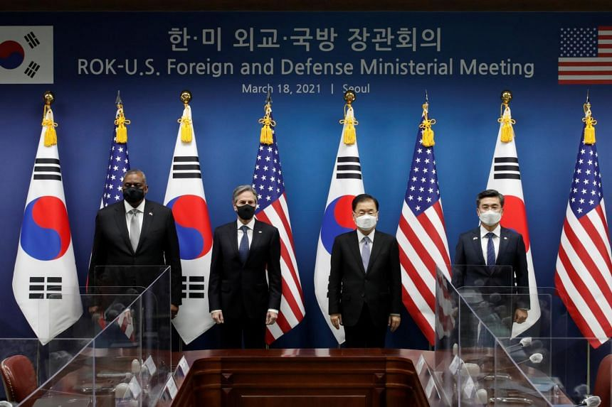 (From left) US Defence Secretary Lloyd Austin, US Secretary of State Antony Blinken, South Korean Foreign Minister Chung Eui-yong and South Korean Defence Minister Suh Wook at the Foreign Ministry in Seoul.