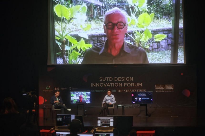 Executive director of DesignSingapore Council Mark Wee (left) and SUTD president Chong Tow Chong (right) with James Dyson at the Design Innovation Forum on March 19, 2021.