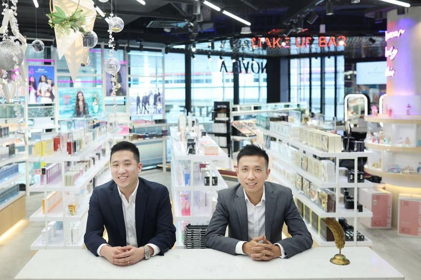 Novela co-founders Eugene Tay (left) and Ben Lin at the beauty store chain's Singpost Centre outlet.