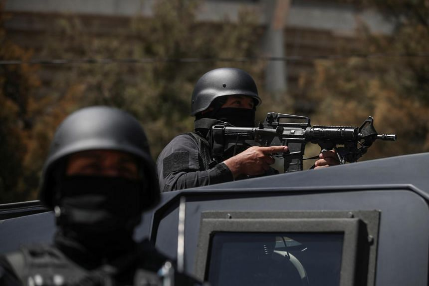 Mexico's National Guard militarised police and the armed forces are searching by land and air for the perpetrators.