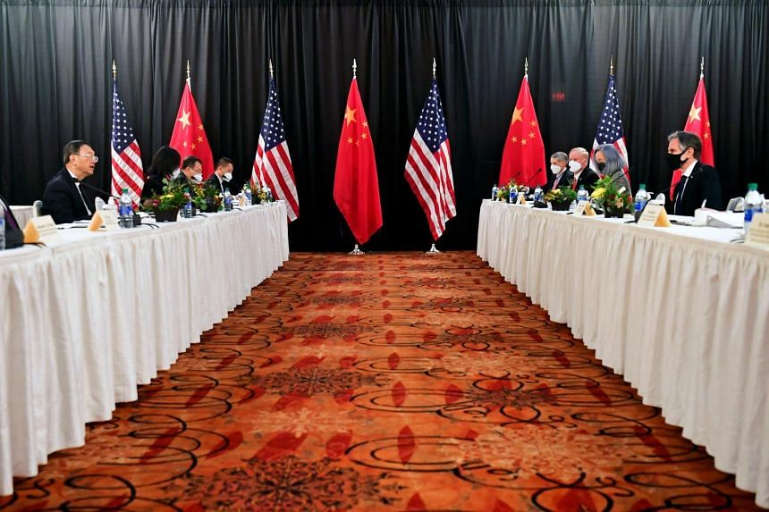 Mr Yang Jiechi (left) and Mr Antony Blinken (right) at the opening session of US-China talks.