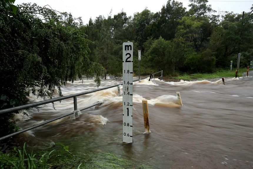 Flooding is seen on the Northern Beaches in Sydney, on March 20, 2021.
