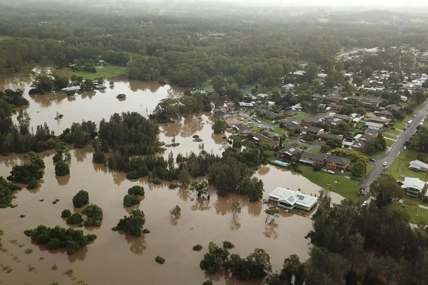 Flooding follows heavy rainfall in Tinonee, New South Wales, on March 20, 2021.