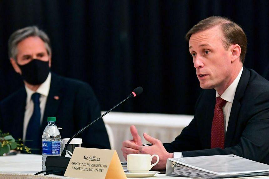 US National Security Adviser Jake Sullivan (right) speaks in Anchorage, Alaska, on March 18, 2021.