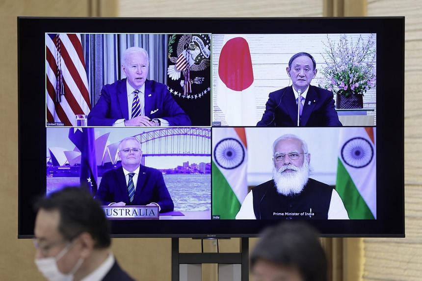 The virtual Quad meeting at Japanese Prime Minister Yoshihide Suga's official residence in Tokyo, on March 12, 2021.