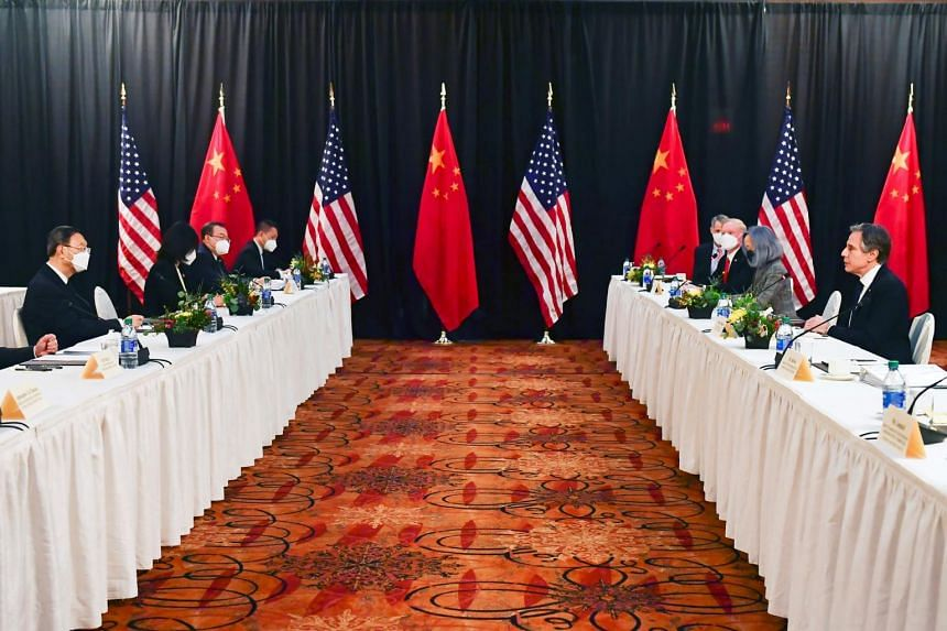 Mr Yang Jiechi (left) and Mr Antony Blinken (right) at the opening session of US-China talks in Alaska, on March 18, 2021.
