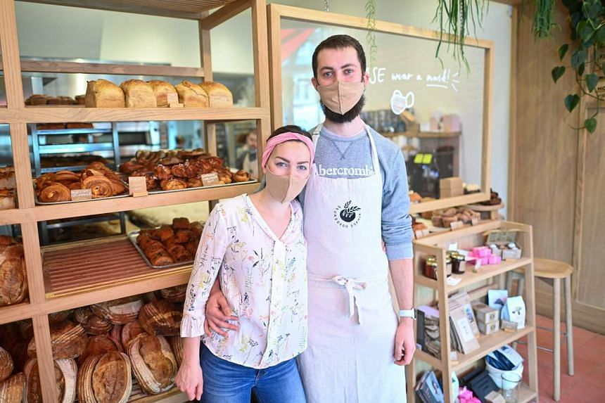 Ms Sophia and Mr Jesse Sutton-Jones at the Sourdough Sophia bakery in north London on March 18, 2021.