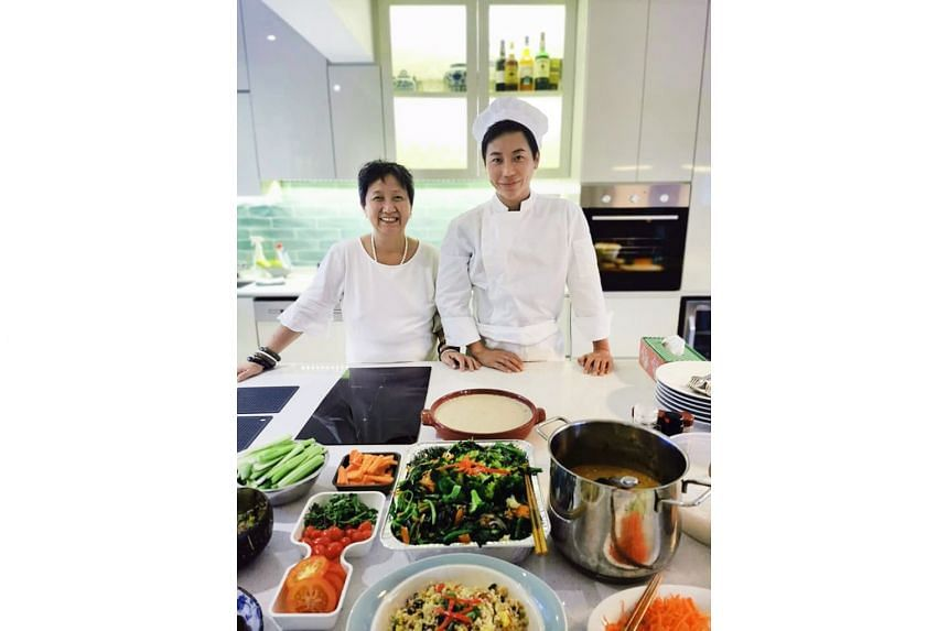 Mr Luke Lim and his mother Marilyn (both above) also attended At-Sunrice's programme, which taught them the importance of preparing ingredients ahead of time.