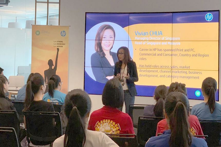 Ms Chua speaking at an HP Singapore Women's Impact Network event. She says HP has several policies and programmes to help accelerate women in leadership.