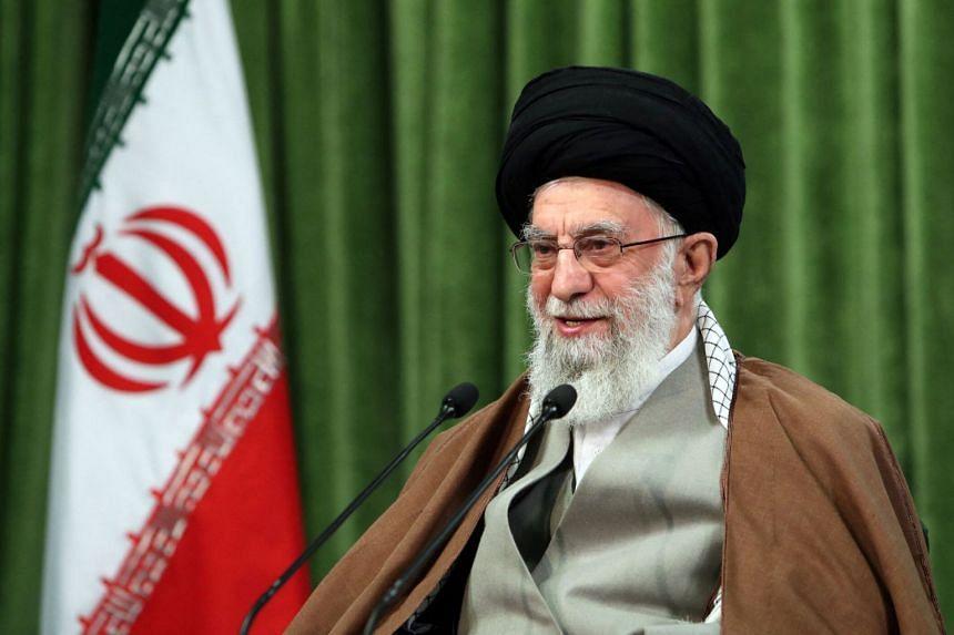 Iran's Supreme Leader Ayatollah Ali Khamenei giving a live televised speech in Teheran, on March 21, 2021.