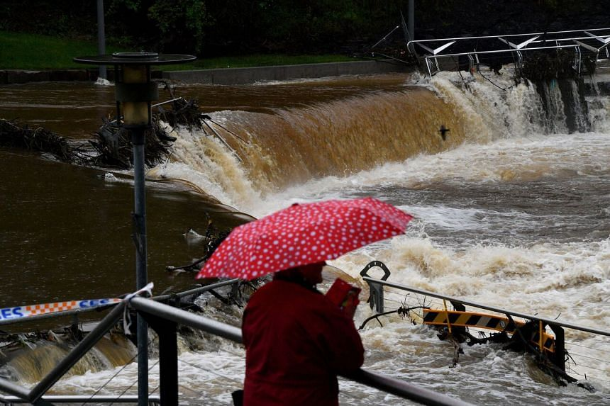 The overflowing Parramatta river in Sydney on March 22, 2021.