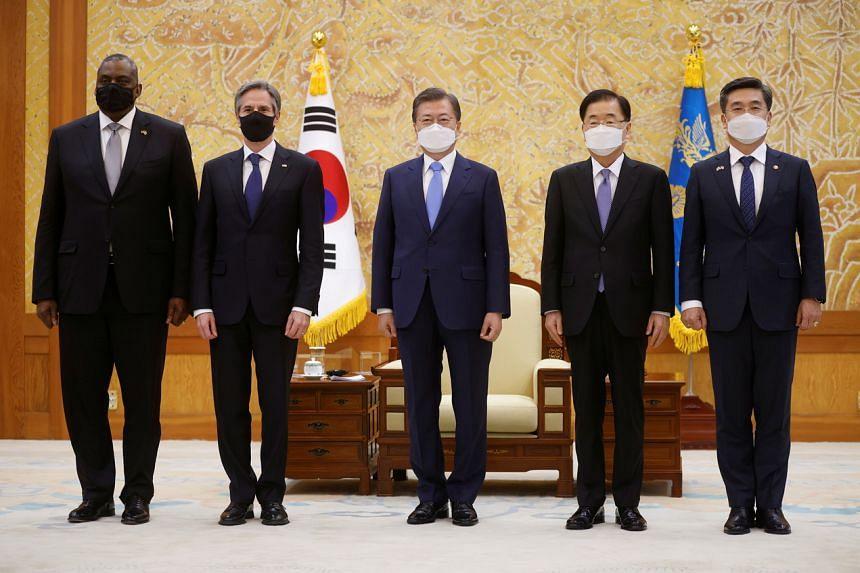 US Defense Secretary Lloyd Austin, US Secretary of State Antony Blinken, South Korean President Moon Jae-in, South Korean Foreign Minister Chung Eui-yong and South Korean Defense Minister Suh Wook Seoul on March 18, 2021.