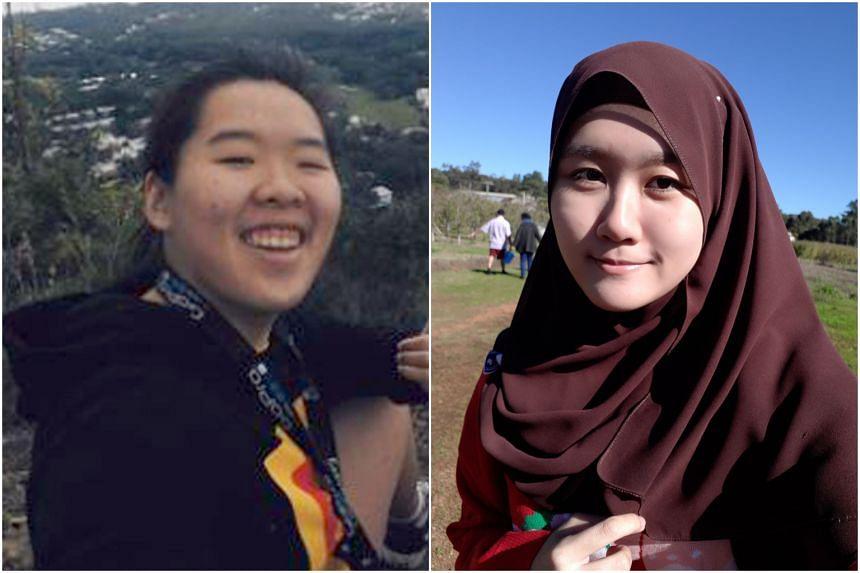 Third-year student at the University of Queensland Sun Qing (left), and neuroscience masters student at Australian National University Nurulhuda Azman.