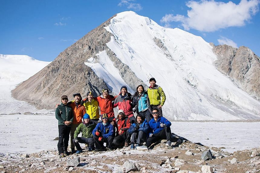 Above: Mr Joel Lim (back row, far right), a former president of the National University of Singapore's mountaineering club, with his team near the Ong Siew May peak in the Tien Shan mountain range in 2017. Left: Current club president Nathaniel Soon