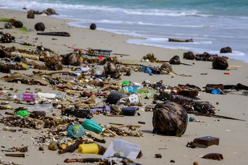 Plastic waste and other rubbish washed up on a beach in Koh Samui, in the Gulf of Thailand, on Jan 19, 2021.