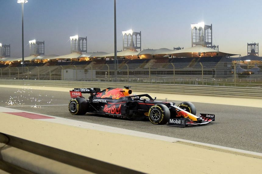 Red Bull's Max Verstappen drives during the third day of the Formula One pre-season testing at the Bahrain International Circuit, on March 14, 2021.