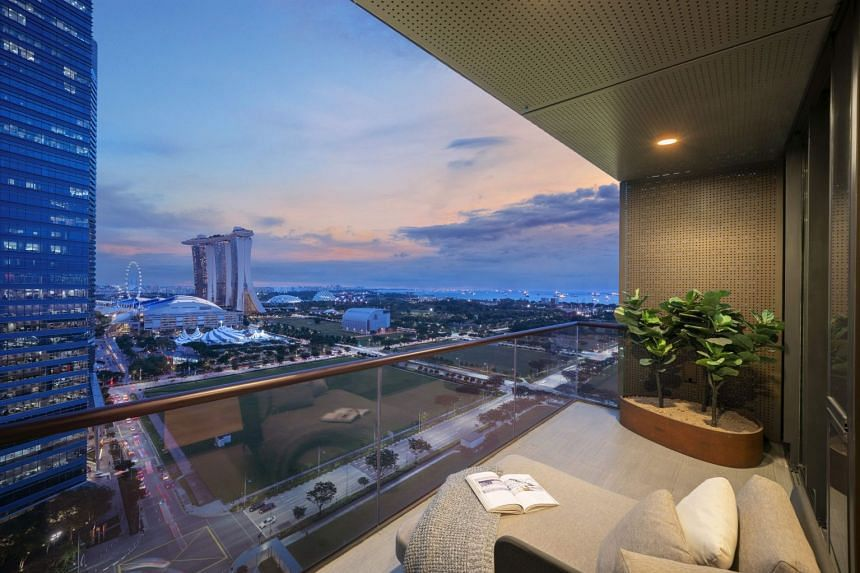 A balcony view from Marina One Residences, offering vantage views of Singapore's Marina Bay financial district area, with easy access to top lifestyle, dining, well-being and cultural options.