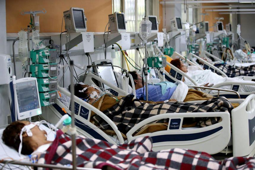 Patients in the emergency room of the Nossa Senhora da Conceicao hospital in Porto Alegre, Brazil, on March 11, 2021.