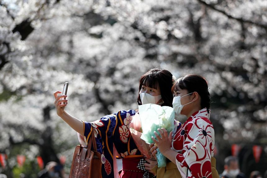 Kimono-clad women take selfie photos among blooming cherry blossoms at Ueno Park in Tokyo, on March 23, 2021.