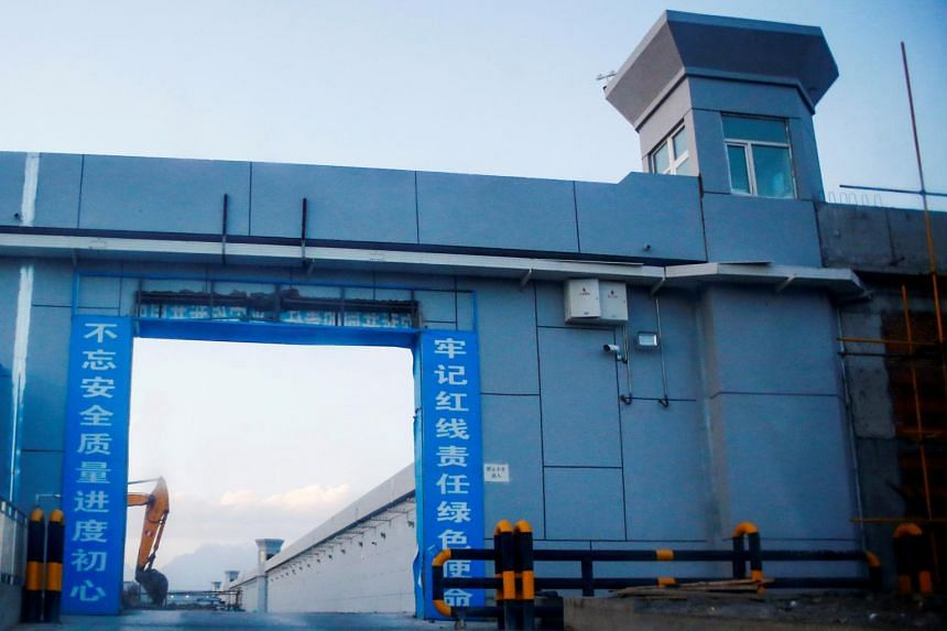 A gate of what is officially known as a vocational skills education centre is photographed in Dabancheng, Xinjiang, on Sept 4, 2018.