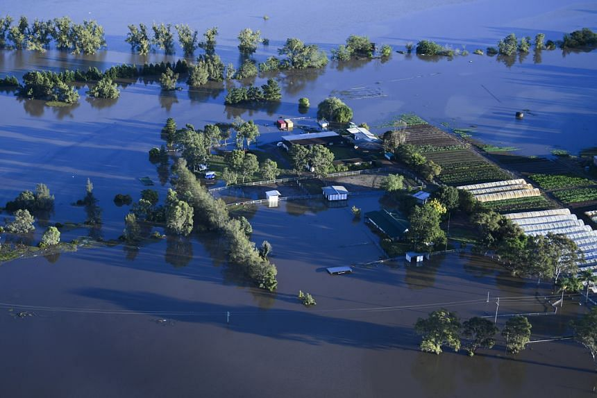 Flood affected areas are seen from a helicopter in the Windsor area near Sydney on March 24, 2021.