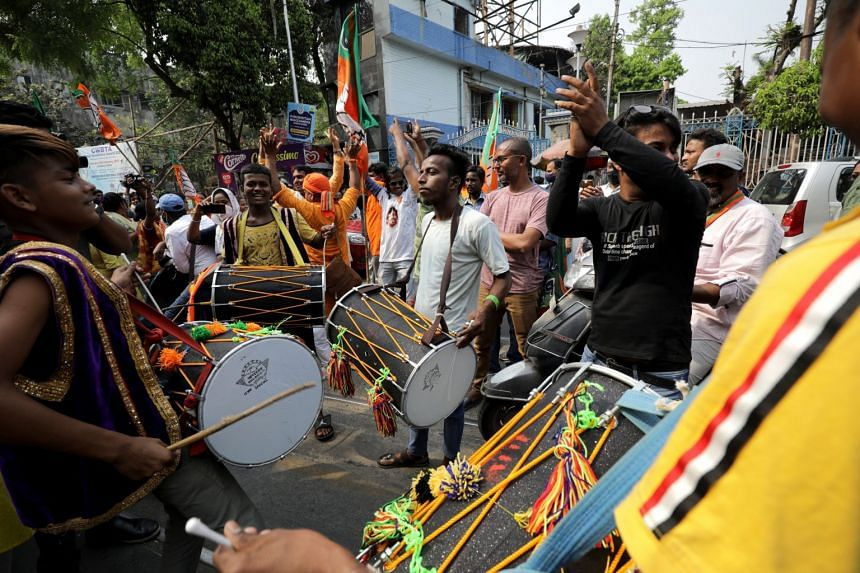 Bharatiya Janata Party supporters in Kolkata, India, on March 22, ahead of the West Bengal legislative assembly elections.