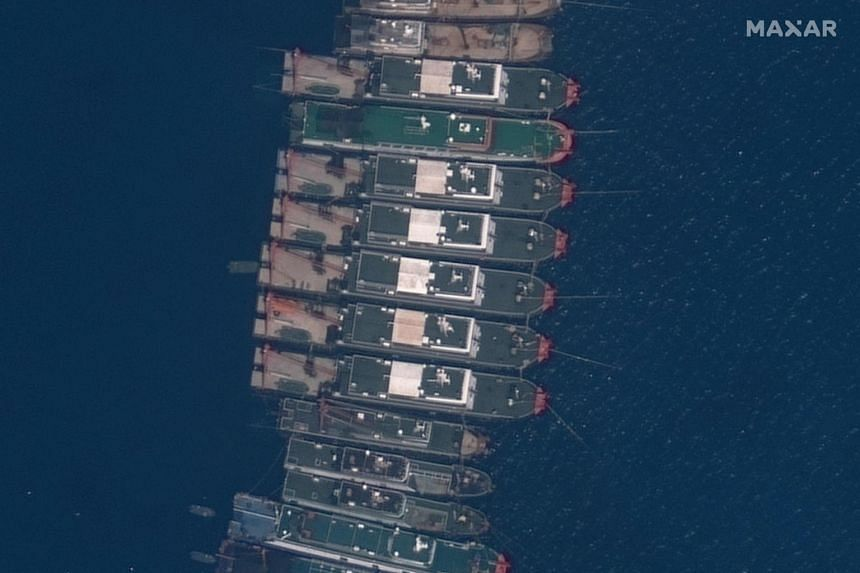 Chinese vessels anchored at the Whitsun Reef, in the South China Sea, on March 23, 2021.