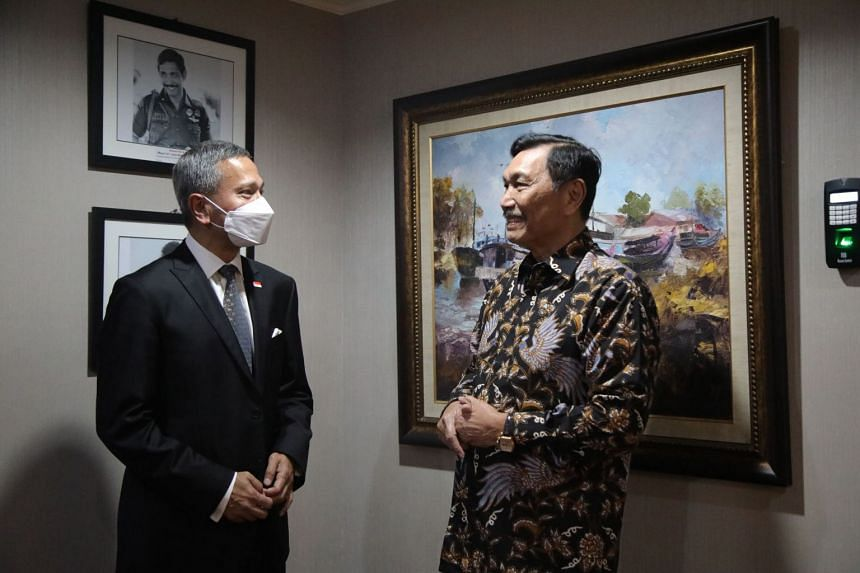 Foreign Minister Vivian Balakrishnan (left) with Indonesian Coordinating Minister for Maritime Affairs and Investments Luhut Pandjaitan.